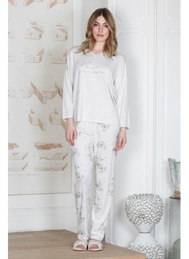 Hays Kadın Yakası Dantel Detaylı Modal Pijama Takımı Gri